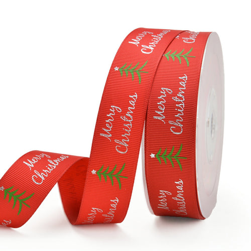 Red with Green Tree  25mm Ribbon  per Metre