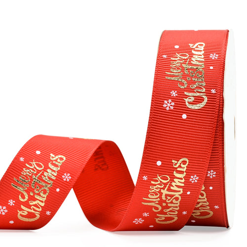 Red  with Gold Foil Merry Christmas 25mm Ribbon per Metre