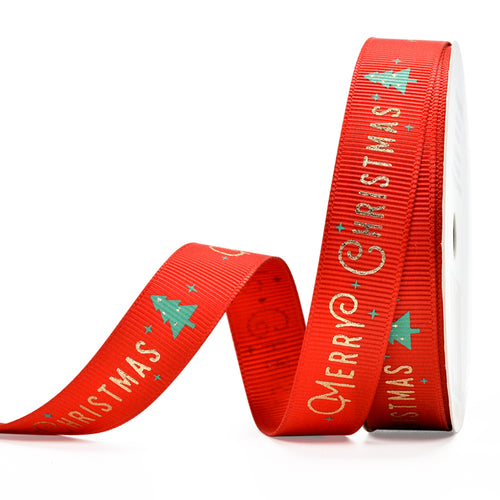 Red with Gold Merry Christmas 16mm Ribbon x Metre