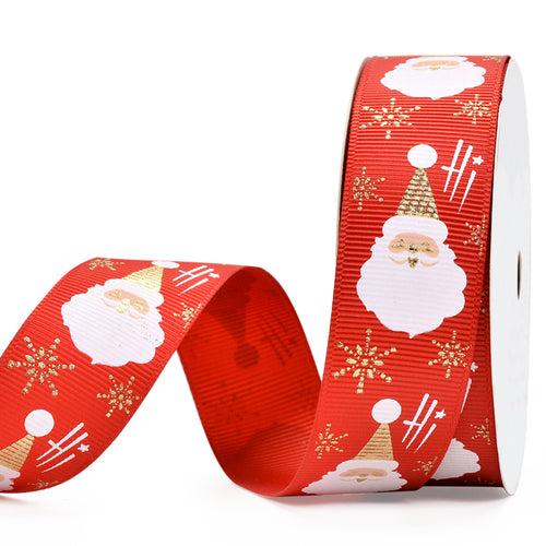 Red with Santa Face  25mm Ribbon per Metre