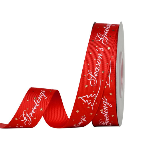 Red with White Seasons Greetings 25mm  Ribbon per Metre