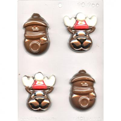 Reindeer and Snowman  Chocolate Mould 2-3/4