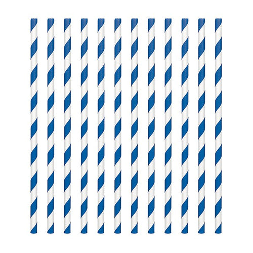 Royal Blue  Candy Stripe Straws Pk 24