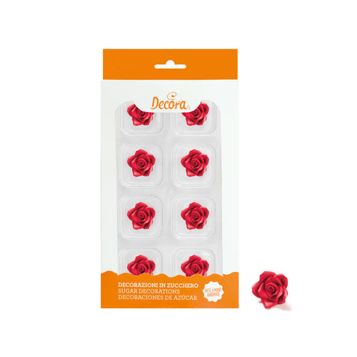 Red Small Rose Set 8  2cm