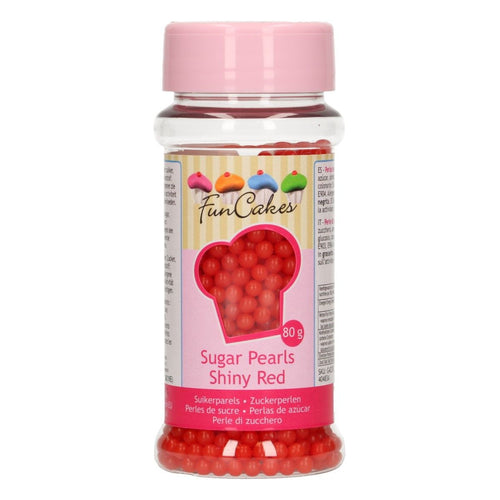 FunCakes Sugarpearls 80g Shiny Red