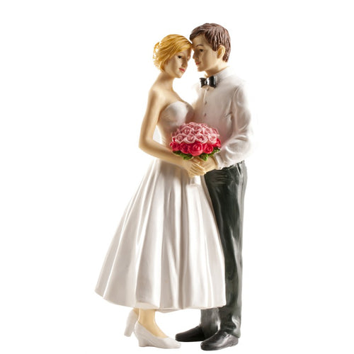 Wedding Couple with Bouquet 16cm