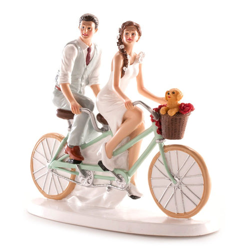 Bride and Groom on Bike 16cm x 18cm  Dekora