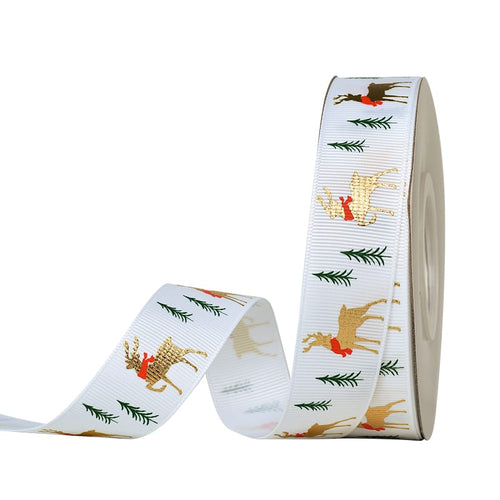 White  with Gold Deer 25mm  Ribbon per Metre