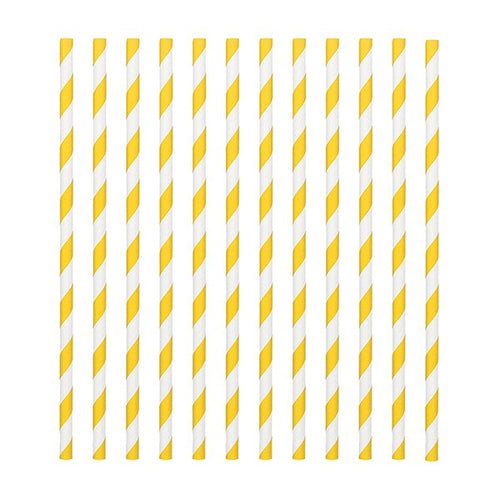 Yellow  Candy Stripe Straws Pk 24