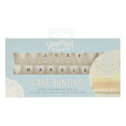 White Just Married Cake Bunting