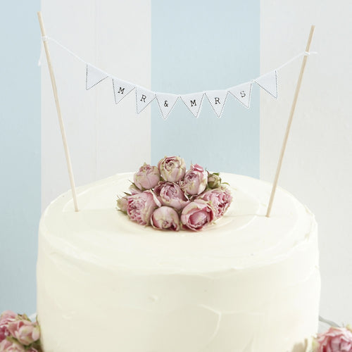 Mr & Mrs Cake Bunting Vintage White