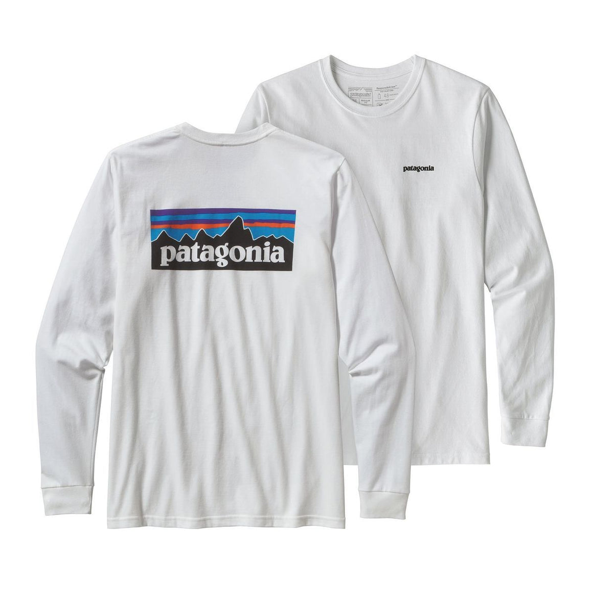 Patagonia Men's Long-Sleeved P-6 Logo Responsibili-Tee White