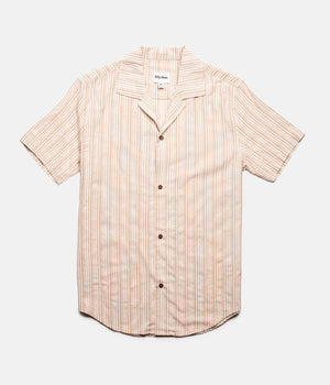 Vacation Stripe SS Shirt - Coffee