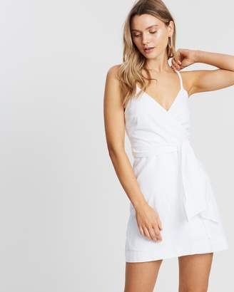 Lunar Linen Wrap Dress - White