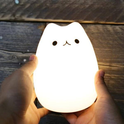 Cute Kitty LED Children Night Light Kids Silicone Cat Lamp Flashing USB Rechargeable Lighting, Warm White Light