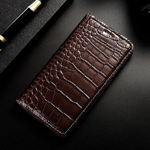 Crocodile Genuine Leather Case For Samsung Galaxy Flip Cover