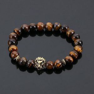 Lions Head Bracelet Black Lava Stone Beaded Bracelets