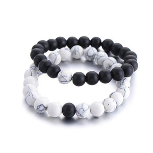 Couples Distance Bracelet Classic Natural Stone White and Black 2Pcs/Set for Men / Women - Venturi.Store