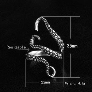 Unique Hot Adjustable Rings 1Piece Titanium Steel Octopus Sea Monster Squid Kraken Punk Antique Ring