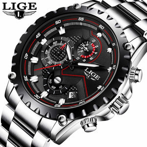 LIGE Men's Quartz Watch Luxury Full Steel Business Waterproof Watch