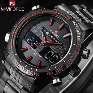 NAVIFORCE Brand Mens 30M Waterproof Sport Watch Men Stainless Steel Analog Digital