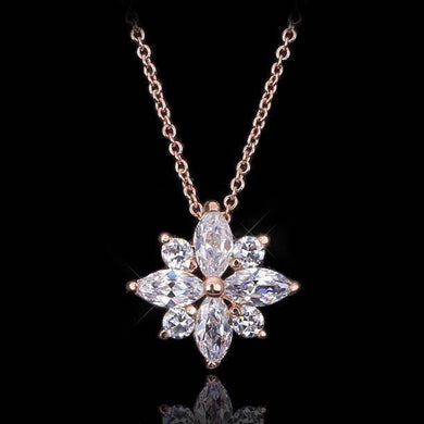 Top Quality Crystal Snowflake Necklace Rose Gold Color Fashion Jewellery Nickel Free Pendant Crystal ZYN400 ZYN401 - Venturi.Store