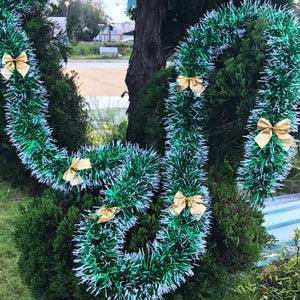 2M Christmas Decoration Ribbon Garland Christmas Tree Ornaments Dark Green Cane Tinsel