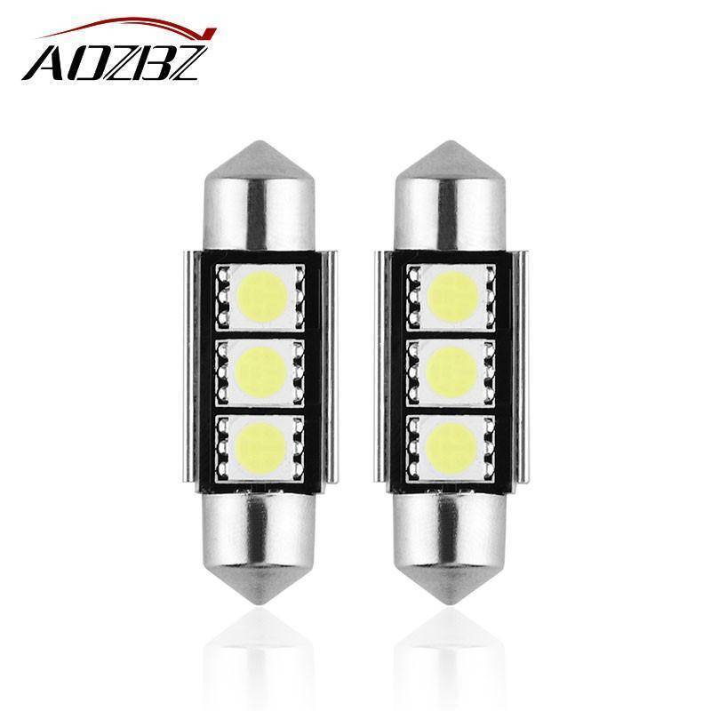Aozbz 36mm C5W SMD 5050 car led light NO Error Bulb Car Licence Plate Light Auto Housing Interior Dome Lamp 12V car-styling