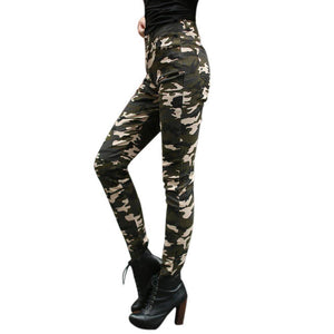 Womens Camo Trousers Casual Pants Army Leggings Camouflage Combat Pencil Pants - Venturi.Store