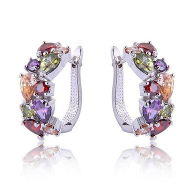 Colorful Amethyst & Ruby Women's  Hoop Earrings - Venturi.Store