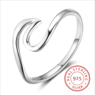 Ocean Jewelry 925 Sterling Ring / Wave Ring Nautical Ring