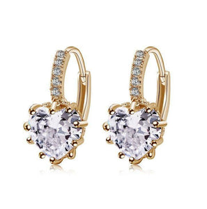 Heart White Cubic Zirconia Crystal Hoop Clip On Earrings - Venturi.Store