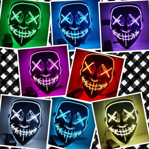 Halloween Mask LED Light Up Party Masks The Purge Election Year  Glow In Dark
