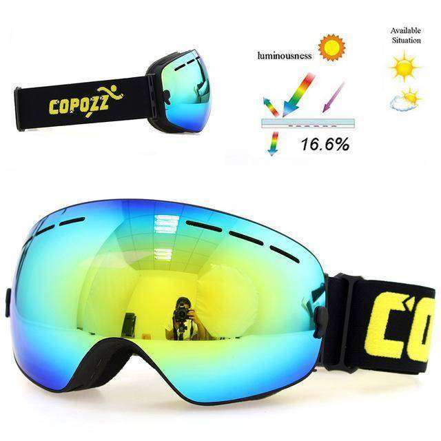 d0e707e5cdb3 ... COPOZZ brand ski   snowboard goggles double layers UV400 anti-fog for  men   women ...