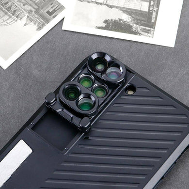 ET 6 in 1 Multifunctional Phone Lens Cover Case / Dual Camera for iPhone 7/8 Plus