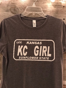 Gray Kansas KC Girl Tee