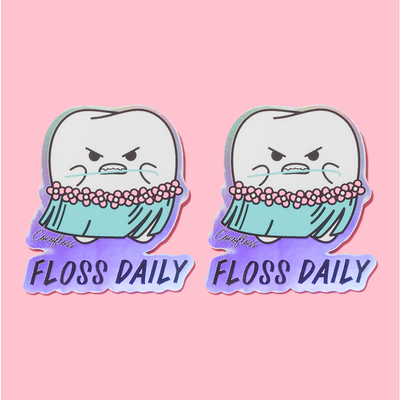"Holographic ""Floss Daily"" Stickers"