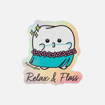 "Holographic ""Relax & Floss"" Stickers"