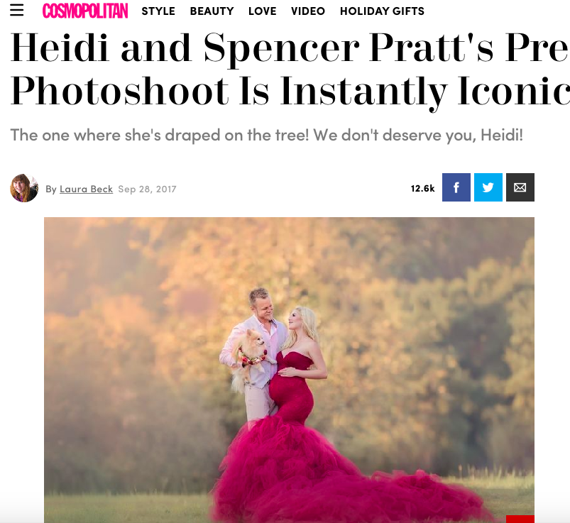 Heidi and Spencer Pratt: a pregnant blonde girl wearing a long pink dress is looking at a man holding a dog who is wearing a pink shirt