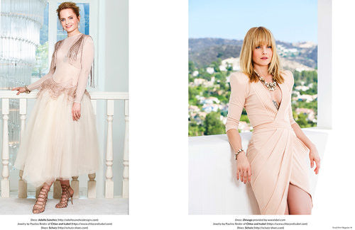 split picture. On the first, a brunette with shorter hair is wearing a beige dress standing next to a staircase. On the second one, a blonde woman wearing a sexy beige dress is reclining on the windowsill