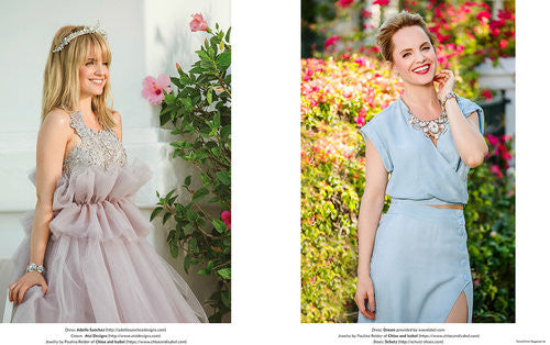 Split picture. First, a blonde girl wearing a tiara and a grey dress. On the second, a brunette with a shorter hair wearing a blue dress