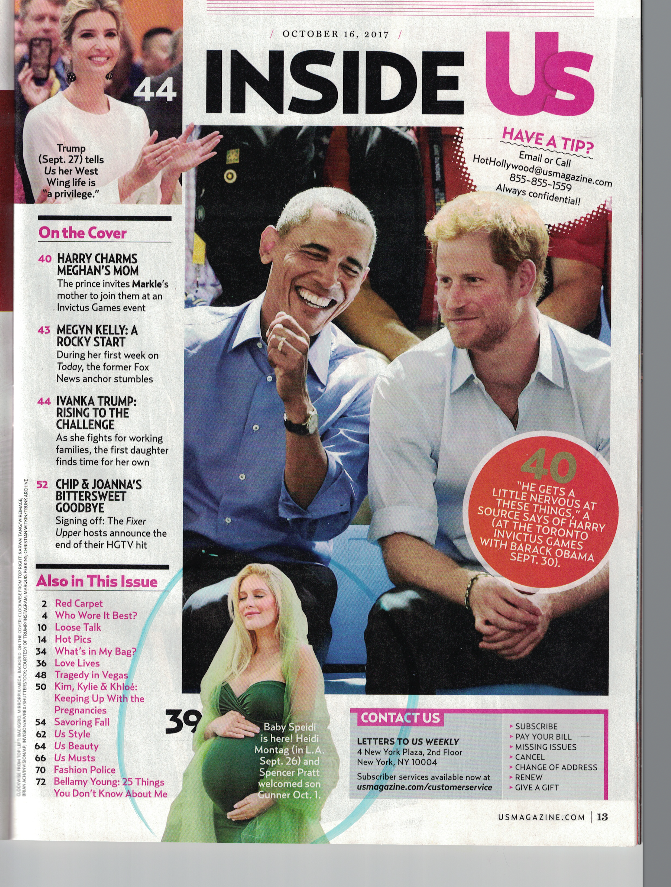 Inside US magazine, Barack Obama and Prince Harry. At the bottom, pregnant Heidi Spencer wearing a green dress and holding her belly