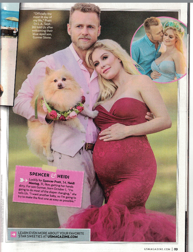 a couple, a man wearing a pink shirt and holding a dog, and a pregnant blonde girl wearing a red dress and having her hand on her belly
