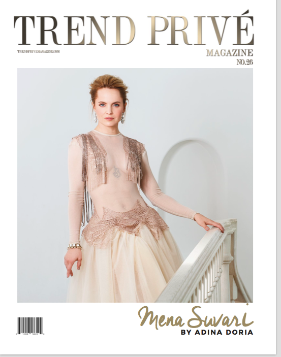 Trend Prive magazine cover, a brunette woman with short hair wearing a stylish dress