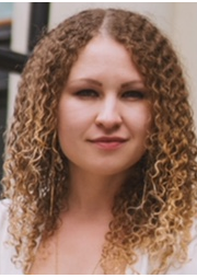Emma Rothwell, a blonde girl with curly hair portrait