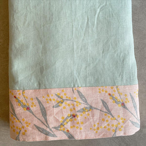 Gum Green Tablecloth with Wattle Trim