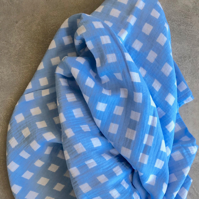Gingham Baby Swaddle in Skye Blue