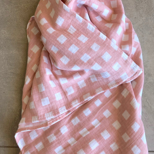 Gingham Baby Swaddle in Tulle Pink