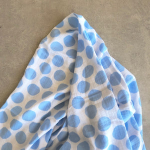 Polka Dot Baby Swaddle in Skye Blue