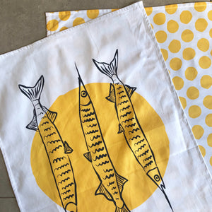 Gar FISH Tea Towel Set - Yellow